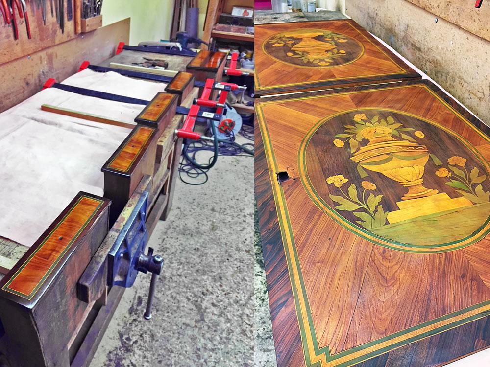 Restauration des placages composant le bureau scriban