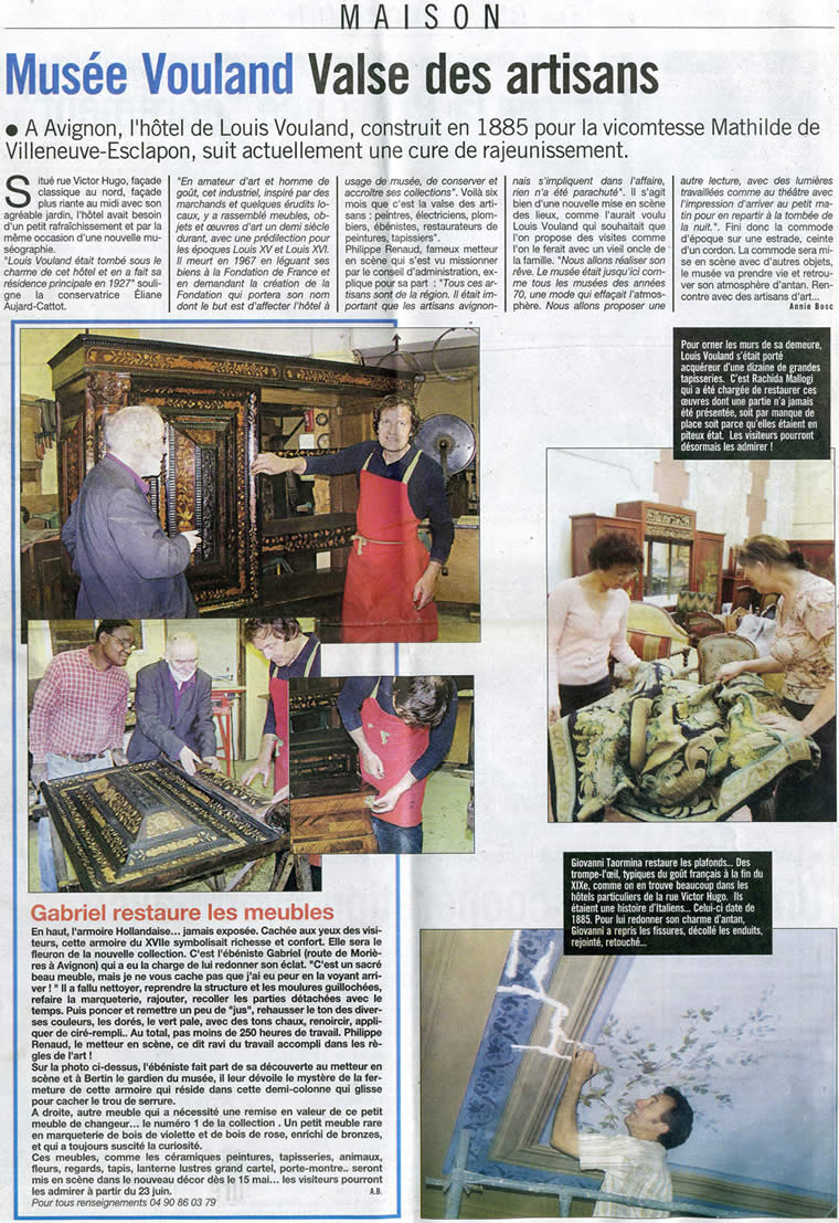 Restauration de meubles anciens pour le musée Vouland à Avignon