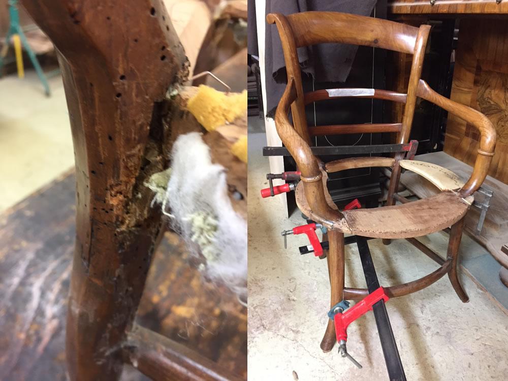 Restauration et remise en forme de fauteuils Directoire